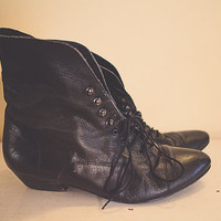 Black Leather Lace Up Boots Size Eomen's 8.5 Black With 1 inch heel SteamPunk  Goth Indie Punk Distressed Seattle Style Ankle Booties