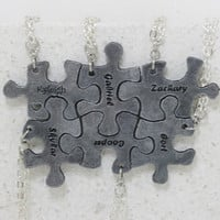 Personalized Puzzle Necklaces Leather set of 6