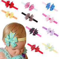 Baby Headband Girl Toddler Flower Bowknot Dots Hair Band 10 Colors Hair Accessories
