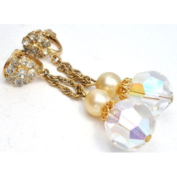 Dangle Crystal Bead & Rhinestone Earrings Vintage
