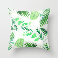 Leaf tropical pattern Throw Pillow by Vasare Nar | Society6