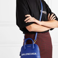 BALENCIAGA Ville mini printed textured-leather tote