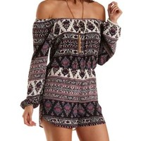 Navy Combo Boho Print Off-the-Shoulder Romper by Charlotte Russe