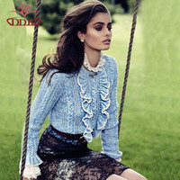 Blue ruffles front long flare sleeves pullover sweater blue and biege color fashion autumn and winter sweater 719