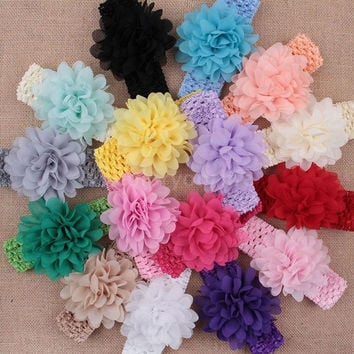 16Pcs Baby Girl Hair Band Lovely Colorful Flower Stretchy Knit Ribbon Headwear Peony Flower = 1958382852