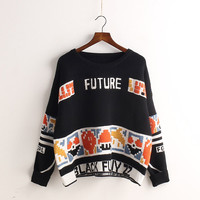 Loose Color Contrasted Letter Pullover Short Sweater