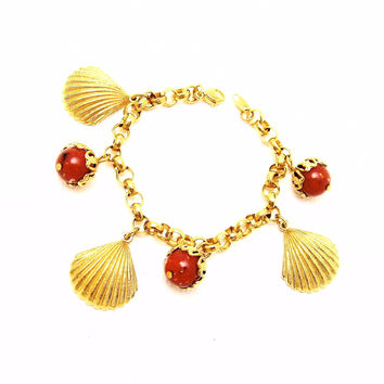 Shell Charm Bracelet Coral Beads Jewelry