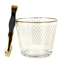 Ice Bucket in Glass & Diagonal Gold Stripes, Glo-Hill Gold Plated Ice Tongs