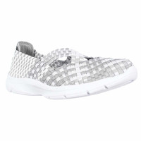 Easy Spirit Quest Woven Mary Jane Flats - White Multi/Silver