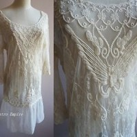 Flapper Vintage Inspired Art Deco Lace Butterfly Hippie Burlesque Sheer Dress