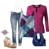Set 471: Navy Patchwork Tank (includes tank, cardy & earrings)