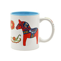 Red & Blue Dala Horse Ceramic Coffee Cup