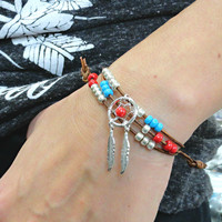 Leather Wrap Bracelet Adjustable with Dream Catcher and Feather Charms, Bohemian Jewelry Feathers and Leather