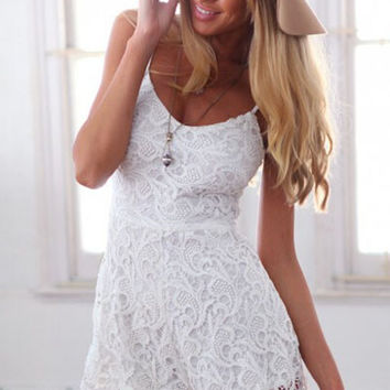 White Sleeveless Lace Chrochet Romper