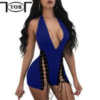 TOB 7 Color S-XL 2017 Halter V-neck Lace Up Eyelet Double Tie-up Rompers Womens Jumpsuit Backless Bodysuit Bodycon Femme XD967