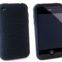 BLACK Apple iPhone 3G 3Gs 8GB 16GB 32GB Textured Silicone Skin Case Cover