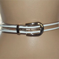 "Vintage 80s Clear Belt | 1980s Clear, Gold & White Belt | 27"" - 32"" Waist 