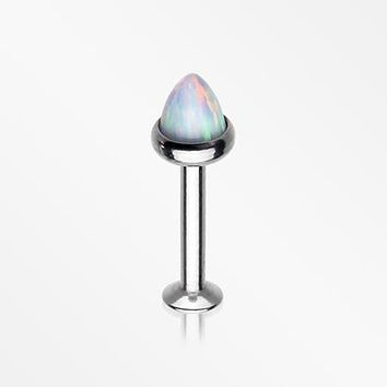 Brilliant Fire Opal Spike Cone Internally Threaded Steel Labret