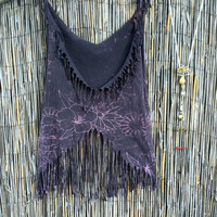 Black & Muted Purple Flowers Hand Fringe Boho Burning Man Gypsy Hippie Festival Tank Shirt Size Medium