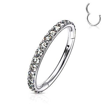 Implant Grade Titanium Brilliant Sparkle Gems Lined Clicker Hoop Ring