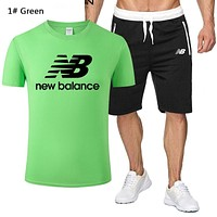 New Balance New fashion letter print top and shorts two piece suit men 1# Green