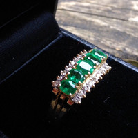 Emerald diamond gold cocktail ring 14kt 585 engagement anniversary band yellow gold
