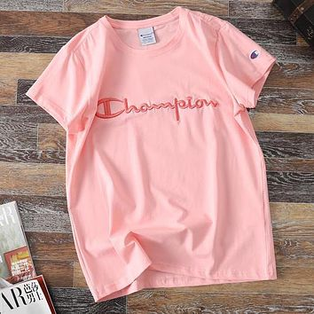 Champion Women Men Casual Classic Embroidery Short Sleeve Cotton T-Shirt Top Pink