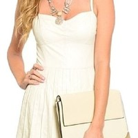 Independent Womens Sweetheart Corset Bustier Style Dress Fit Flare Faux Leather Ivory Cream