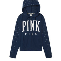 Rhinestone Bling Boyfriend Full-Zip - PINK - Victoria's Secret