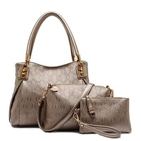 Womens Embossed Gold or White Three (3) Piece Purse Set