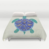 Sea Turtle Duvet Cover by Cat Coquillette