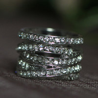 Illusion Stackable Rhinestone Strands Wide Band Ring