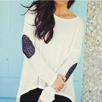 Sequin Elbow Patch Tunic White with Blue Sequins