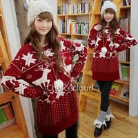 Korean Womens Ugly Christmas Reindeer Snowflake loose Knitted Sweater Jumpers