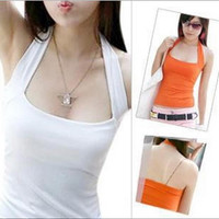 Hot sale Sexy Women's Lady Low Cut Halter Neck Vest Shirts Girls Camis Backless Solid Top 10Colors Free Size
