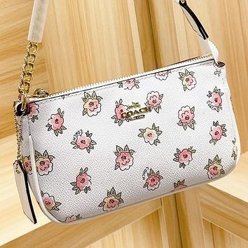 COACH New fashion more floral print leather shoulder bag handbag crossbody bag