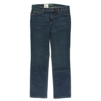 LRL Lauren Jeans Co. Womens Petites Harbor Medium Wash Straight Leg Jeans