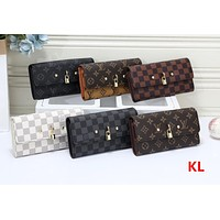 """Louis Vuitton"" Women Fashion Multicolor Tartan Letter Long Section Three Fold Wallet Handbag"