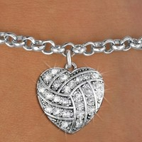 Volleyball Jewelry - Crystal Heart Bracelet