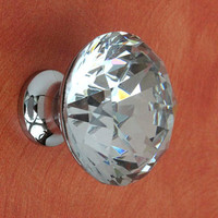 Glass Knobs / Crystal Dresser Knob Drawer Knobs Pulls Handles / Kitchen Cabinet Knobs Handle Pull Bling Hardware Silver Clear Sparkly Modern