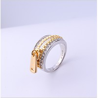 Zipper ring:Creative zipper head diamond couple lofty ring