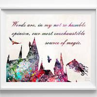 Harry Potter Quote, Hogwarts Castle Print, Harry Potter, Art Print, Watercolor Art, Poster, Illustration Art, Wall Decor, Back To School