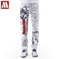 Men Jeans New Arrival Floral Print Straight Jean Stars and Stripes Pants Fashion Pants for Men