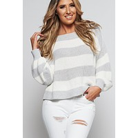 Make Me Stay Striped Sweater (Ivory/Light Grey)