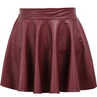 Plaid Pleated Leather Red Skirt