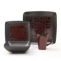 16 pc Dinnerware Set, Red