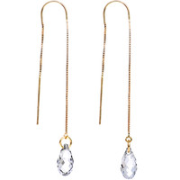 Gold Filled Clear Drop Threader Earrings MADE WITH SWAROVSKI ELEMENTS | Body Candy Body Jewelry