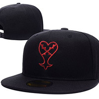 HAIHONG Kingdom Hearts Heartless Logo Adjustable snapback Embroidery Hats Caps - Black