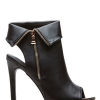 Black Faux Leather Zipper Accent Peep Toe Booties