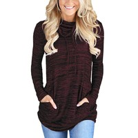 Ladies Woven Red Cowl Neck Long Sleeve Sweater